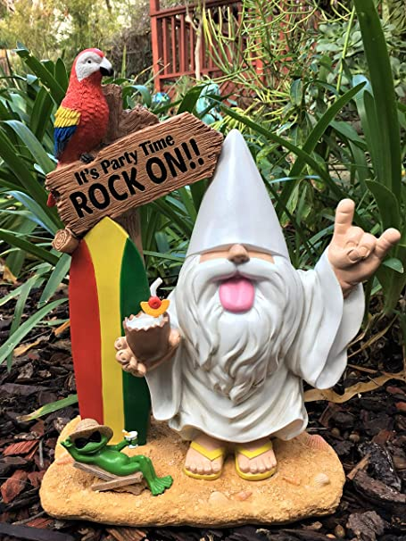 """GlitZGlam Gnomo Rockero – """"George y la Rana Fred"""" – """"¡Es Tiempo de divertirse – Que Viva el Rock n´Roll!"""" – Este gnomo traerá el Ritmo y la alegría a tu Jardín"""