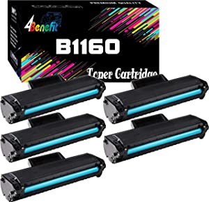 (5-Pack, Black) 4Benefit Compatible Toner Cartridge Replacement for Dell YK1PM 1160 331-7335 HF44N HF442 to use with B1160 B1160w B1163w B1165nfw Mono Laser Printers