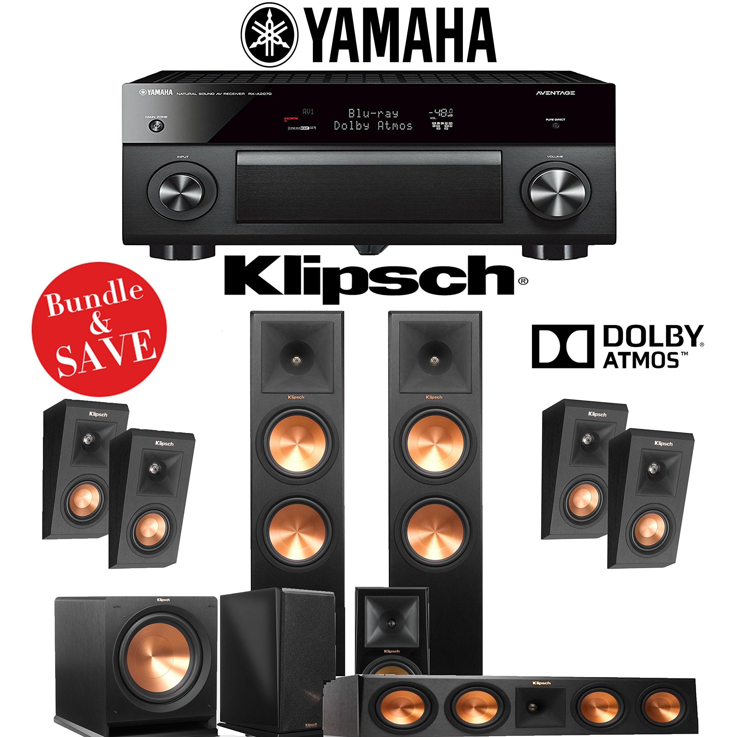 Klipsch RP-280F 5.1.4-Ch Reference Premiere Dolby Atmos Home Theater System with Yamaha AVENTAGE RX-A2070BL 9.2-Channel Network A/V Receiver