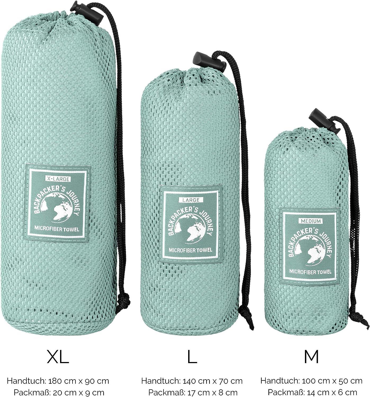 de Secado r/ápido Backpackers Journey Toallas de Microfibra en S M L XL Absorbente y antibacteriana La Toalla de Viaje es Ligera