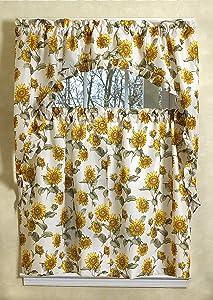 Violet Linen European 3 Piece Kitchen Curtain Set, Sunflowers