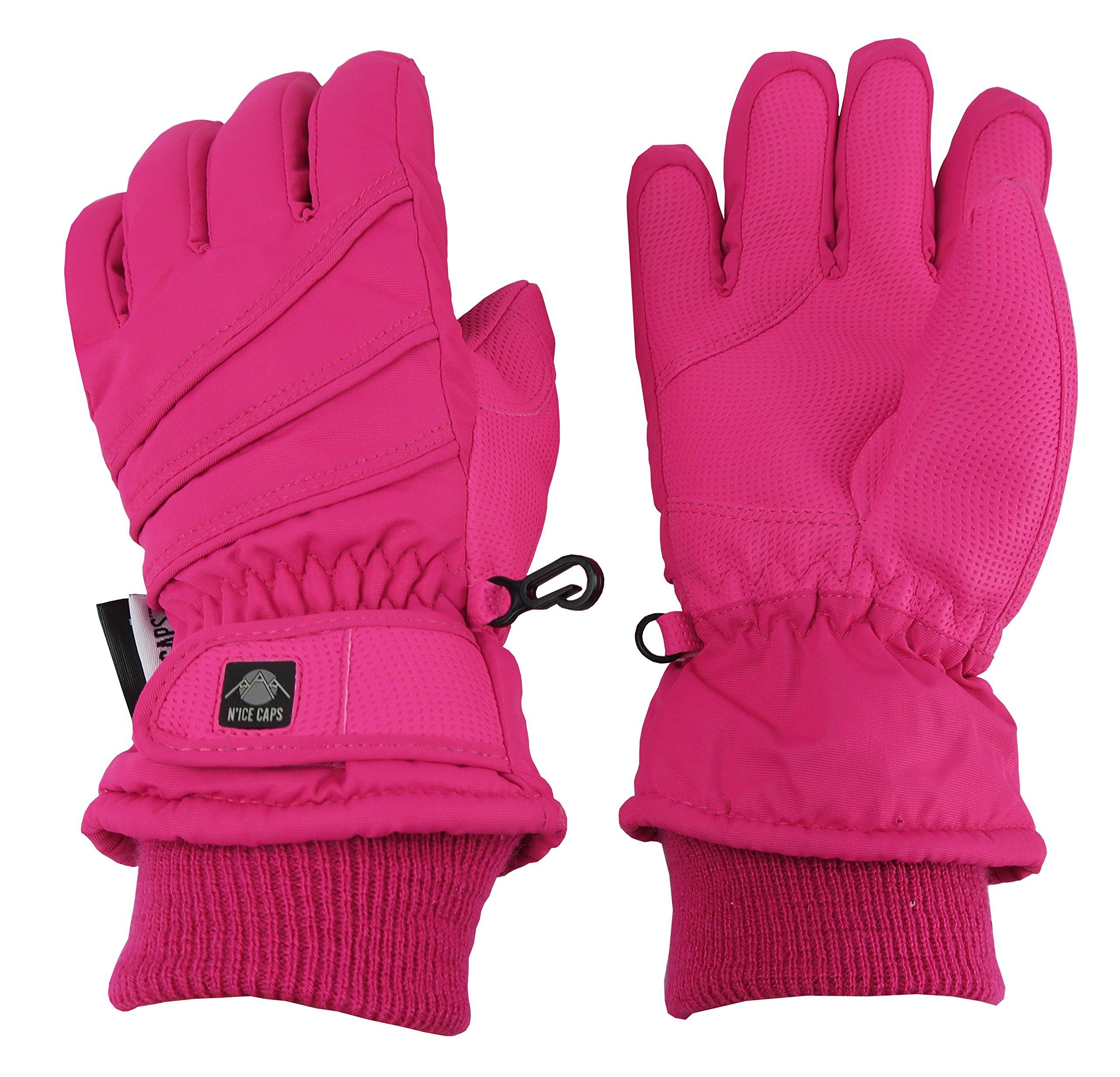 N'Ice Caps Kids Bulky Thinsulate Waterproof Winter Snow Ski Glove With Ridges (Fuchsia 1, 9-10yrs)