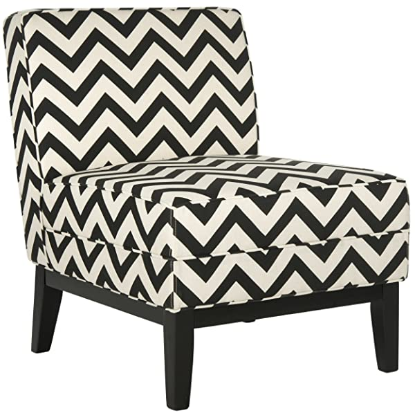 Safavieh MCR1006D Mercer Collection Armond Accent Chair, Black/White