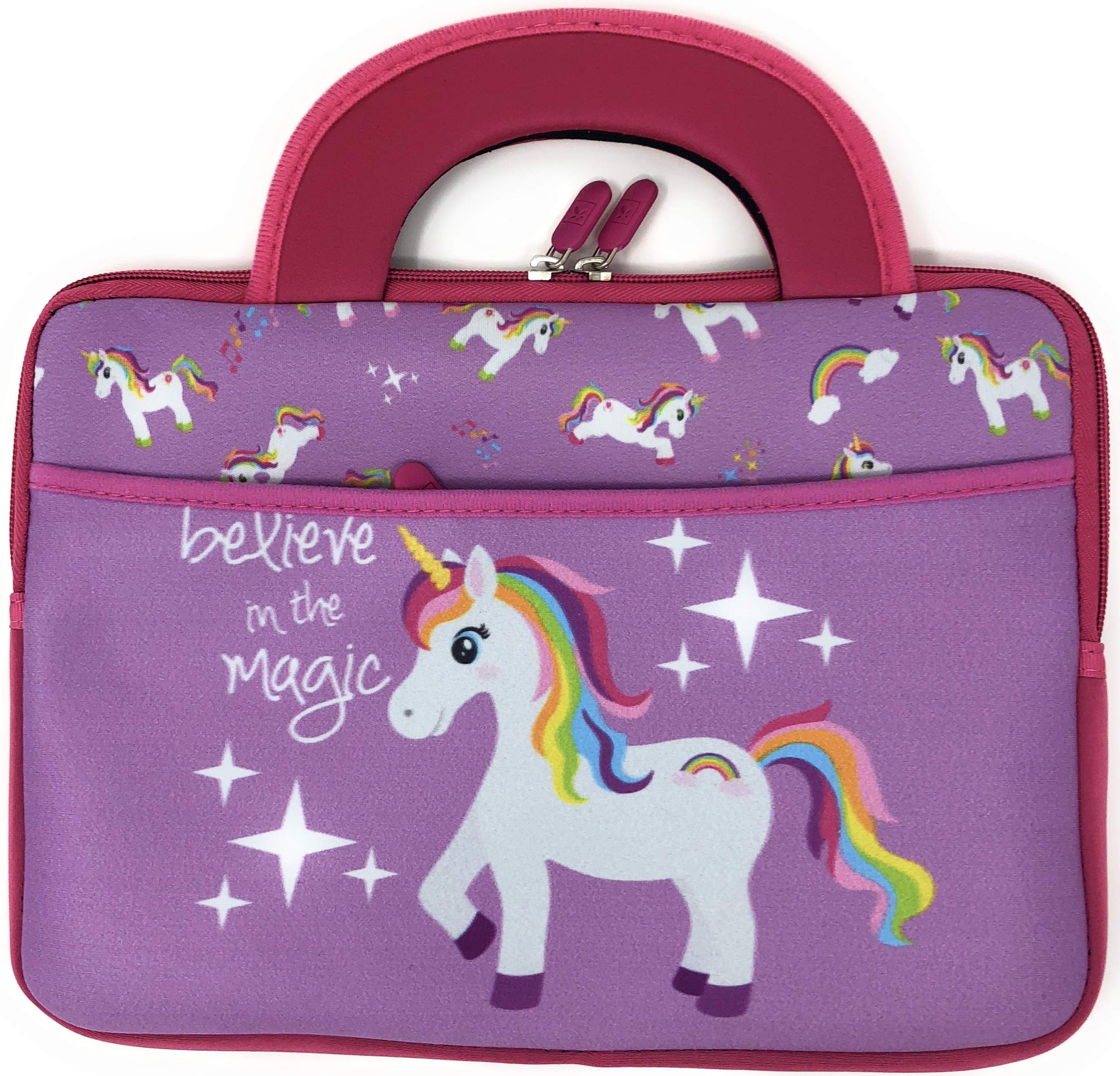 Kids tablet travel Unicorn Activity Bag Boy Girl 10 Inch Universal compatible Fire HD 8 Kids Edition Sleeve Handles Tote Neoprene Portfolio Case pocket Fire 7 (Unicorn)