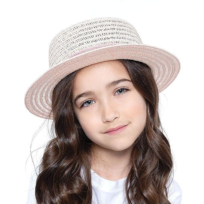 28cc1481 Amazon.com: accsa Kid Girl Straw Sun Panama Top Hat Summer Beach Cap Pink  Ribbon Age 3-6: Clothing