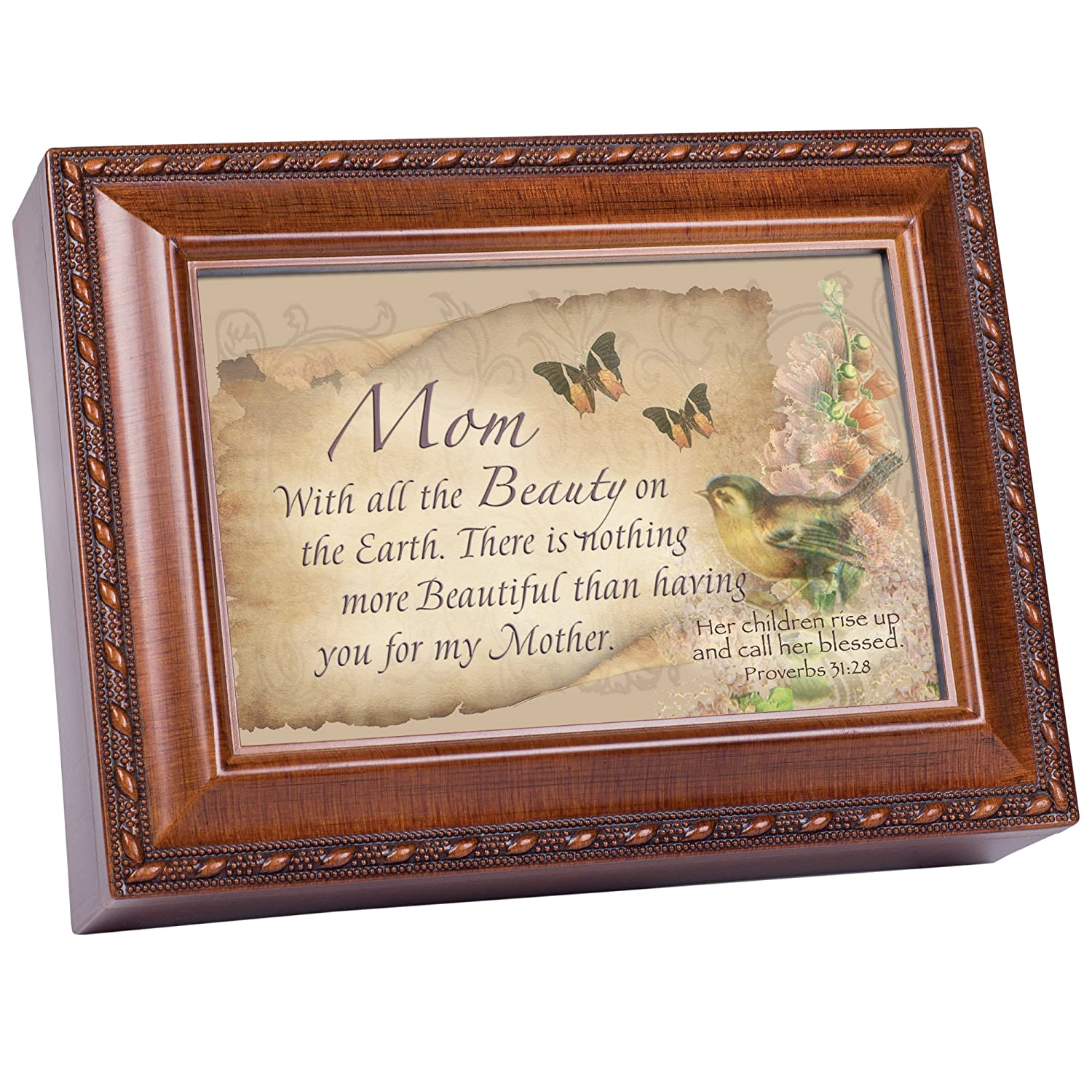 Cottage Garden Mom Beauty Woodgrain Inspirational Traditional Music Box Plays Amazing Grace