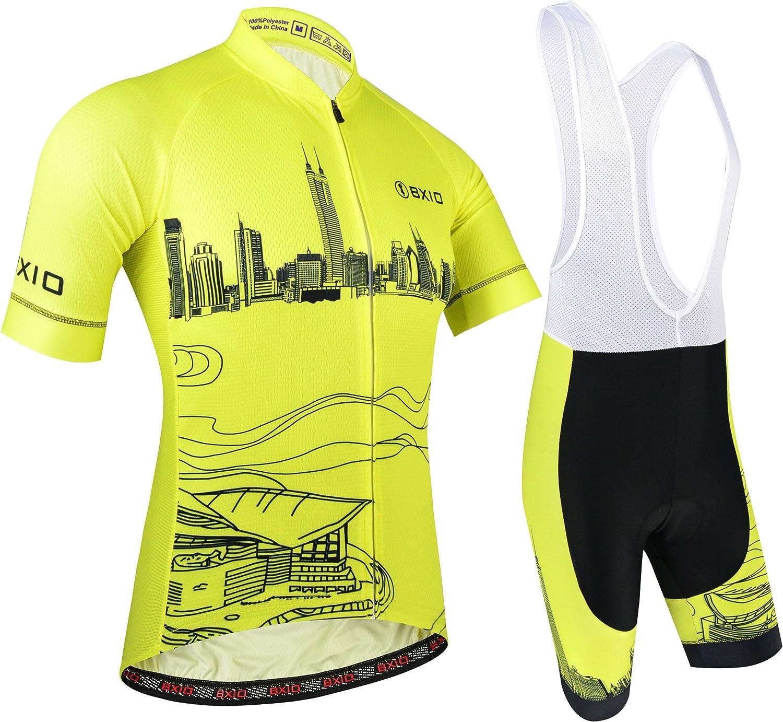 BXIO Maillot Ciclismo Hombre, Ropa Ciclismo y Culotte Ciclismo con Culotte Pantalones Acolchado 3D para Deportes al Aire Libre Ciclo Bicicleta, Amarillo 184