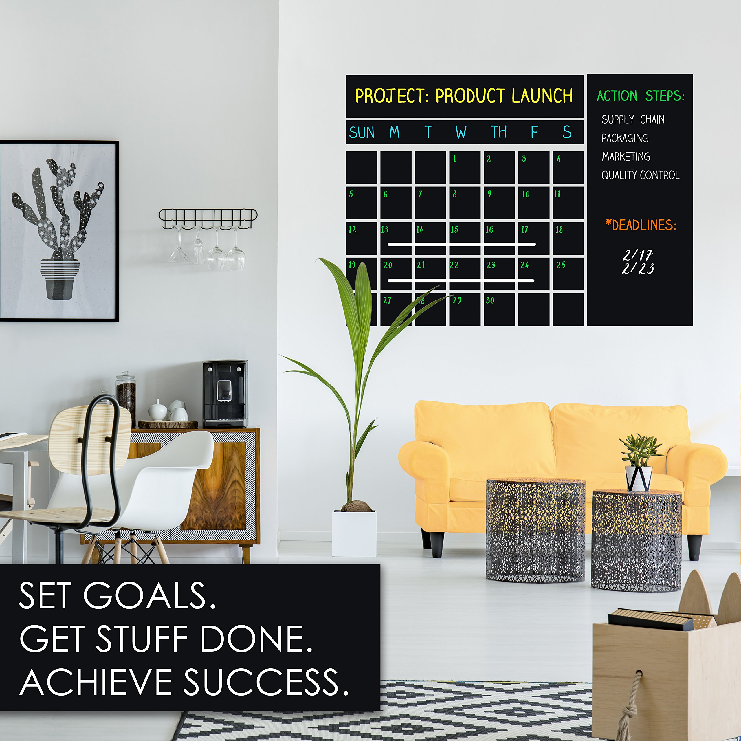 Wall Calendar 2018 & 2019 ~ Chalkboard Decal & 4 Liquid Chalk Markers & Eraser ~ Large 47''x 28'' ~ Dry Erase Calendar ~ Best Organizer for your Office, Home & Classroom ~ Keep School & Work Organized