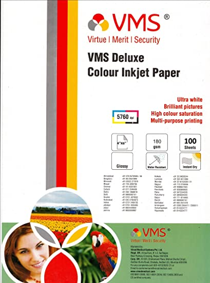 VMS 4*6 Deluxe Color Inkjet Glossy 180gsm Photo Paper  100 Sheets  Photo Paper
