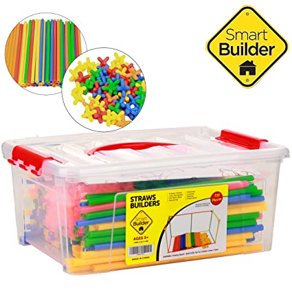 Straws And Connectors Building Construction Set Includes 720 Pcs Free Storage Container