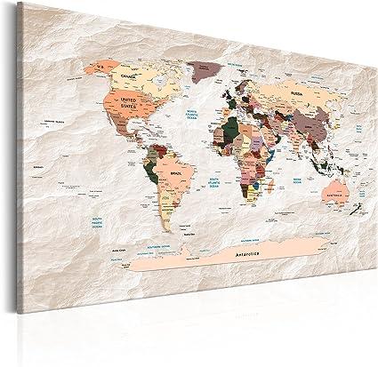 murando Tablero De Corcho & Cuadro en Lienzo 90x60 cm No Tejido XXL Estampado Memoboard Decoración De Pared Impresión Artística Fotografía Gráfica Poster Mapamundi Mapa del mundok-C-0053-p-b: Amazon.es: Hogar