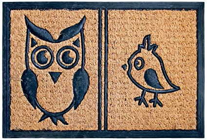 Owl and Bird Coir Rubber Doormat