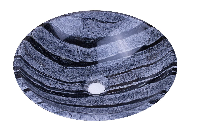 YUChe ngstone® lavabo pietra lavabo 100% pietra naturale, lavabo a mano Marmo/granito, rotondo, diametro 33–35cm, diametro di scarico 4,5cm, Multicolore diametro 33-35cm Yuchengstone