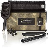 ghd healthier styling gift set - Set de plancha de pelo profesional ghd platinum+, cepillo de pala ghd paddle y neceser térmico a juego