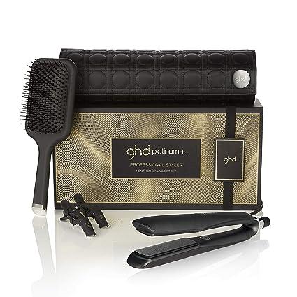 ghd healthier styling gift set - Set de plancha de pelo profesional ghd platinum+, cepillo