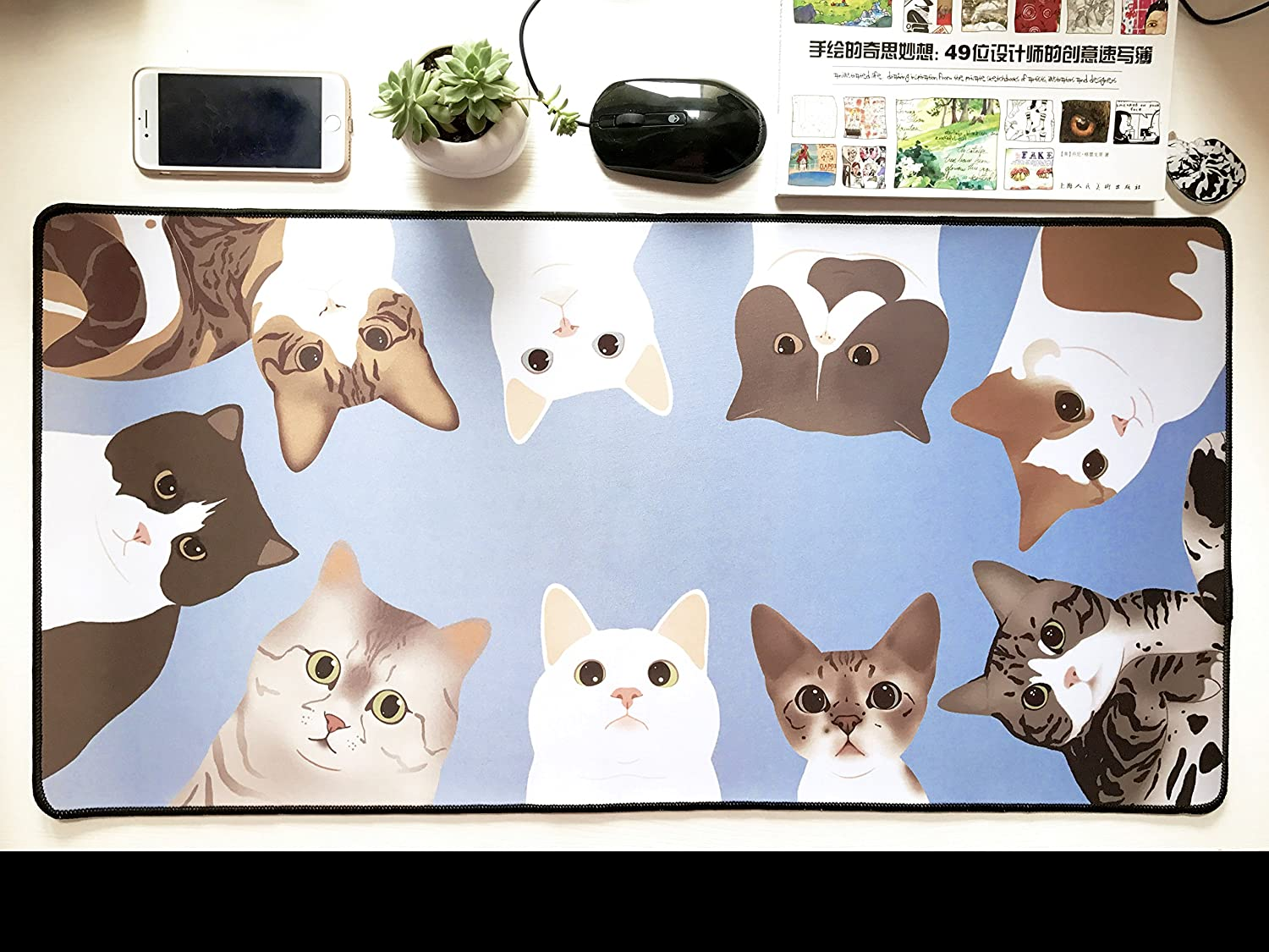 A Office Alfombrillas De Ratón Alfombrilla Gaming Personalidad Super Cartoon Cat Pad Cartoon Super Creative Table Estera Teclado Anti-Skid Pad 600X300Mmx3Mm 7d0389