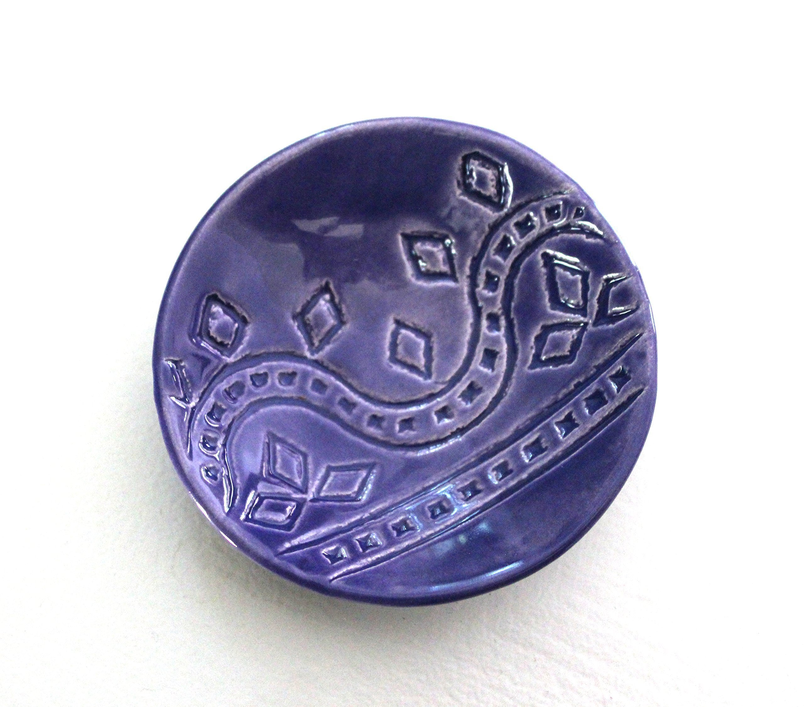 Indigo Ring Dish - Handmade Jewelry Bowl - Bohemian / Boho dish with geometric pattern and bright blue glaze