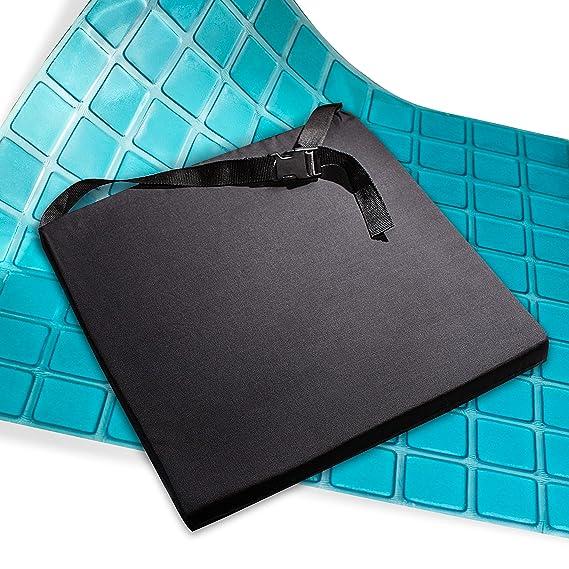 AIESI Cojín Antiescaras Profesional (Certificado) Memory en poliuretano expandido con cojín interior de gel viscoelástico y cinturón cm 44x44x5h ✓ Cojín ...
