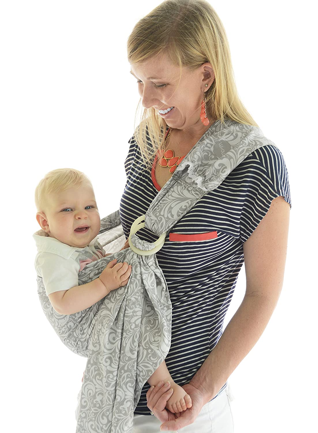 72eb602bb37 Amazon.com   Mo+m Ring Sling Baby Carrier   Breastfeeding Nursing Cover -  Adjustable Wrap  for Infant to Toddler Age  in Beautiful French Pattern -  Perfect ...
