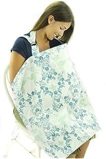 Cubierta para lactancia - Delantal de amamantamiento transpirable – Diseño Floral Azul y Verde - Alimentación