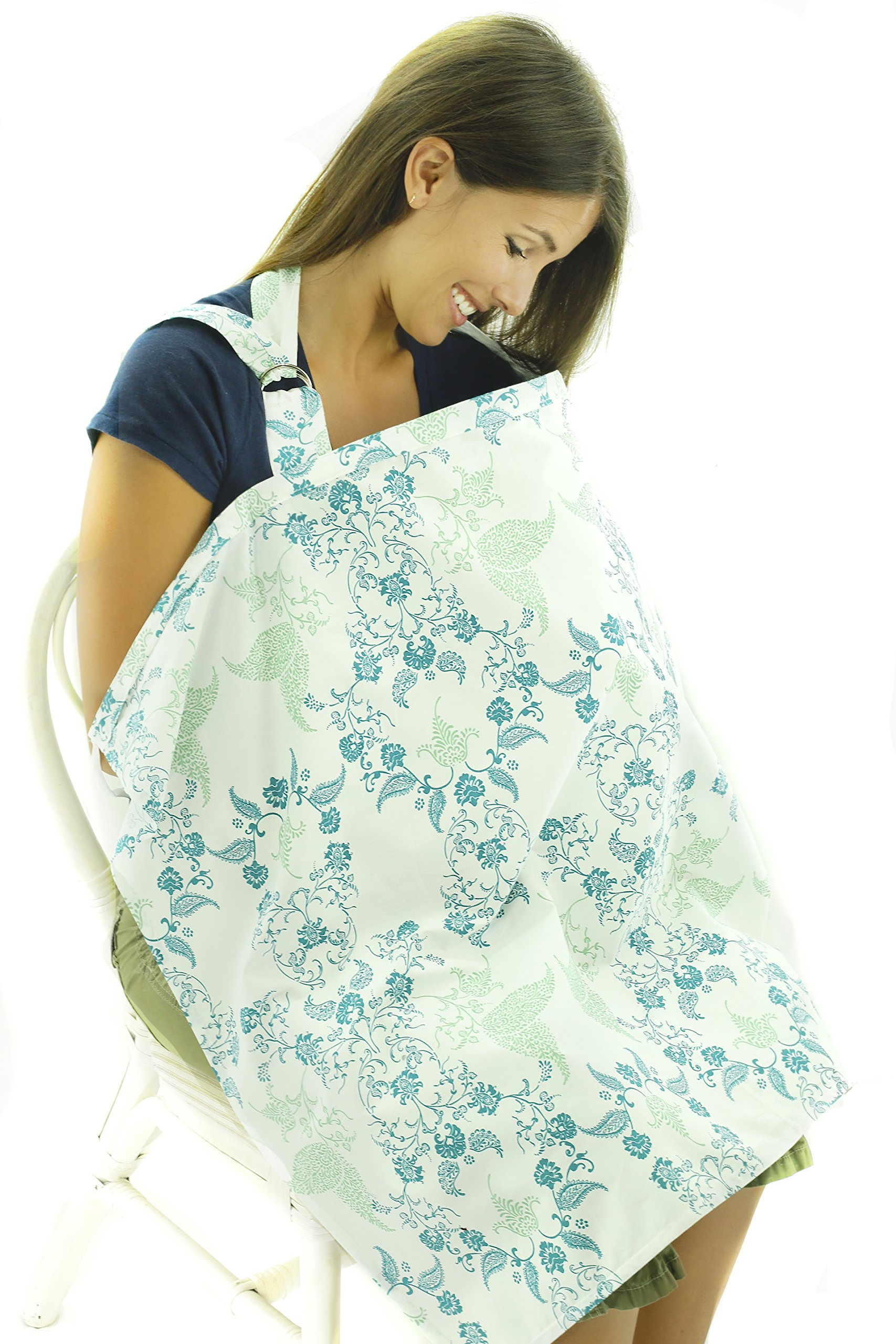 Now Born Breastfeeding Nursing Cover: Floral Green and Blue Cotton w/Burp Cloth by Now Born