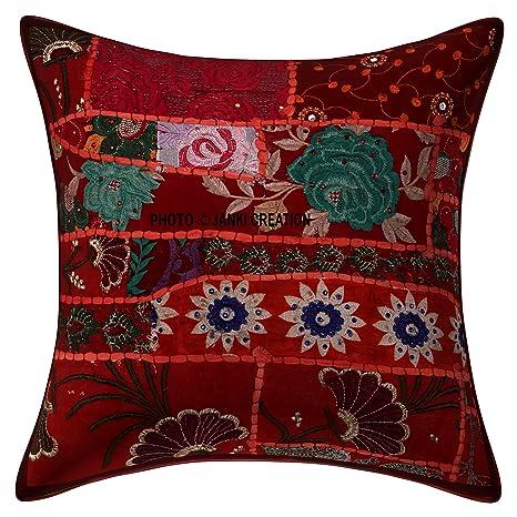 Cojín bohemio indio bohemio, étnico para el hogar, decorativo, cojín de sofá indio, cojín de cojín decorativo de sofá, cojín de almohada, funda de ...