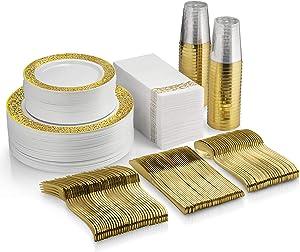 350 Piece Gold Dinnerware Set - 100 Gold Lace Design Plastic Plates - 50 Gold Plastic Silverware - 50 Gold Cups - 50 Linen Like Gold Napkins, 50 Guest Disposable Gold Dinnerware Set