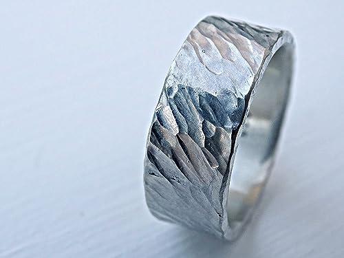 textured men ring silver ring