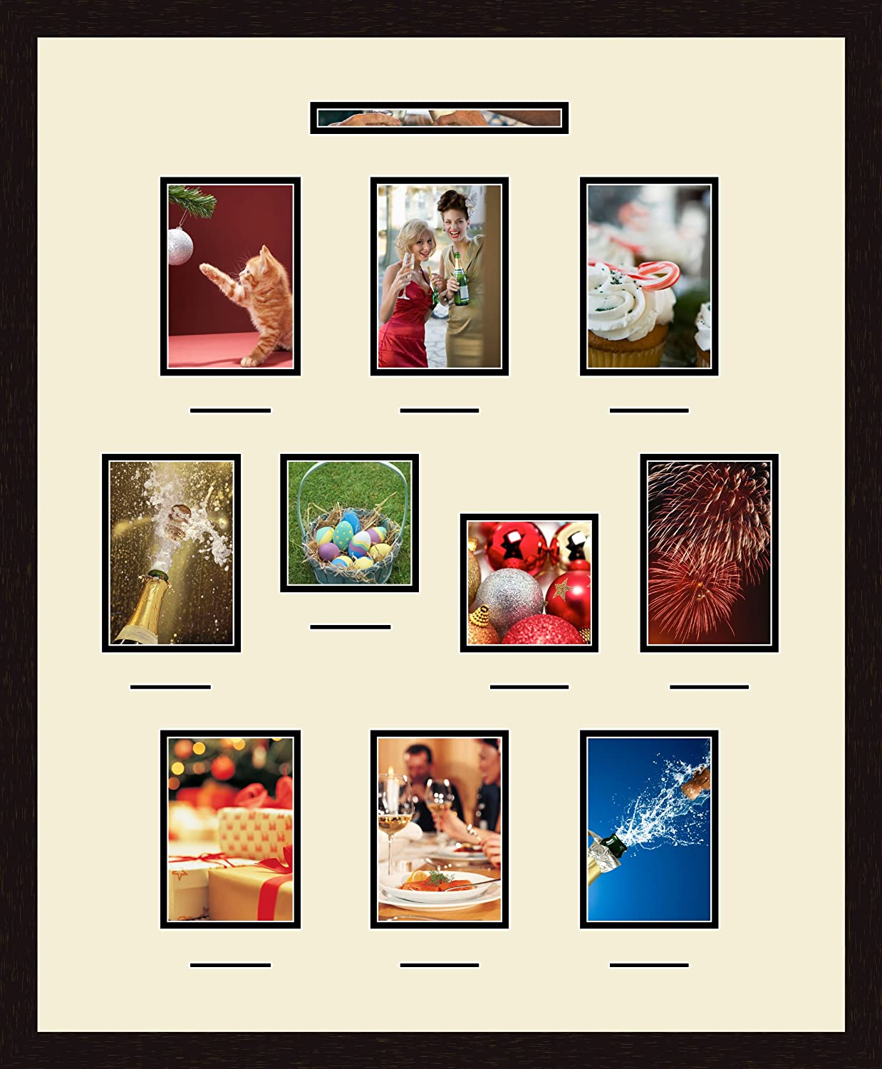 .5x3 and 2-5x5 Openings and Espresso frame Art to Frames Double-Multimat-1078-128//89-FRBW26061 Collage Frame Photo Mat Double Mat with 1-1.5x9 and 8-5x7 and 10