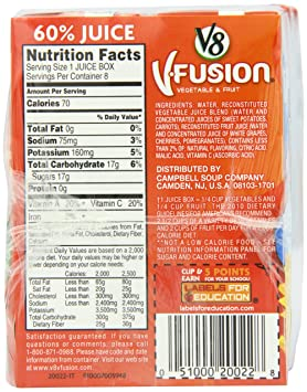 Amazon Com V8 V Fusion Kid S Juice Box Fruit Punch 6 75 Ounce