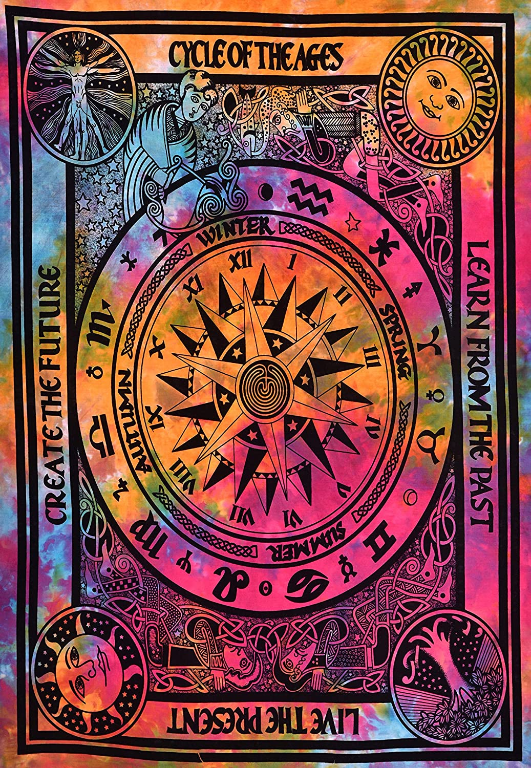 ANJANIYA Zodiac Goodluck Cycle of Ages Bohemian Room Dorm Decor Hippie Indian Tie Dye Small Boho Tapestry Psychedelic Poster Size 40