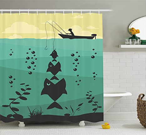 Fishing Themed Shower Curtains.Fishing Decor Shower Curtain By Ambesonne Big Fish Eats Little Textured Design In River With Trawler Rod Home Decor Fabric Bathroom Decor Set With