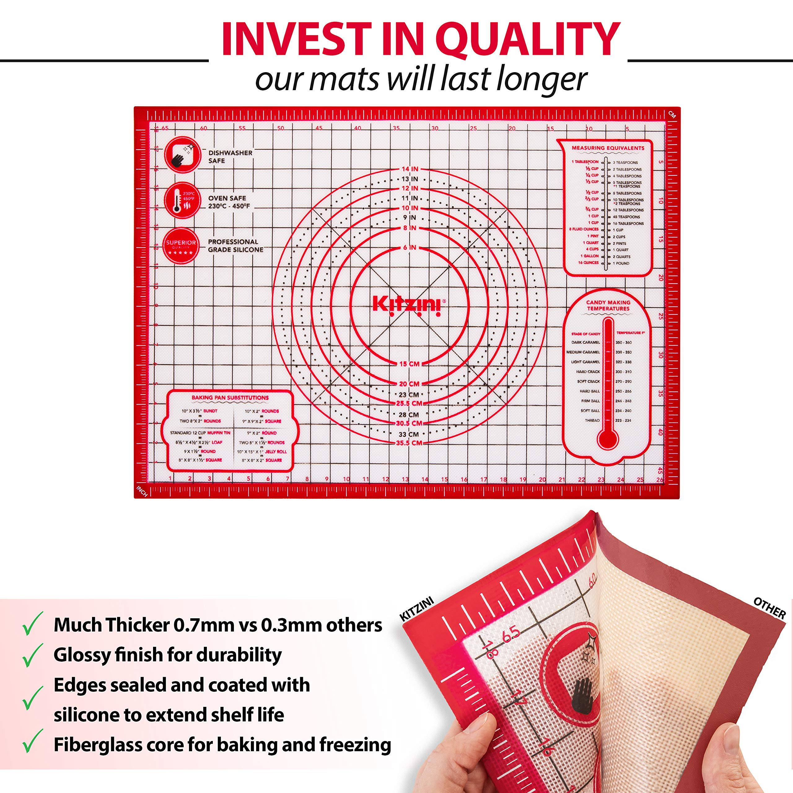 Pastry Mat Silicone Non Slip - Extra Large Thick Non Stick Silicone Baking Mat For Rolling Dough Pie Crust Fondant Pizza and Cookies - Heavy Duty Easy Clean Kneading Mat With Measurements - 20'' x 28'' by Kitzini (Image #3)