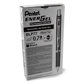 Pentel EnerGel PRO Permanent Gel Pen, (0.7mm) Medium Line, Black Ink