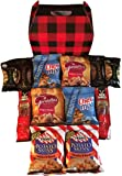 Lumberjack Mens Snacks Care Package features buffalo plaid Gift Box stuffed with meat sticks, nuts, and salty snacks: the perfect gift for your guys, bros, Dads, or man cave.