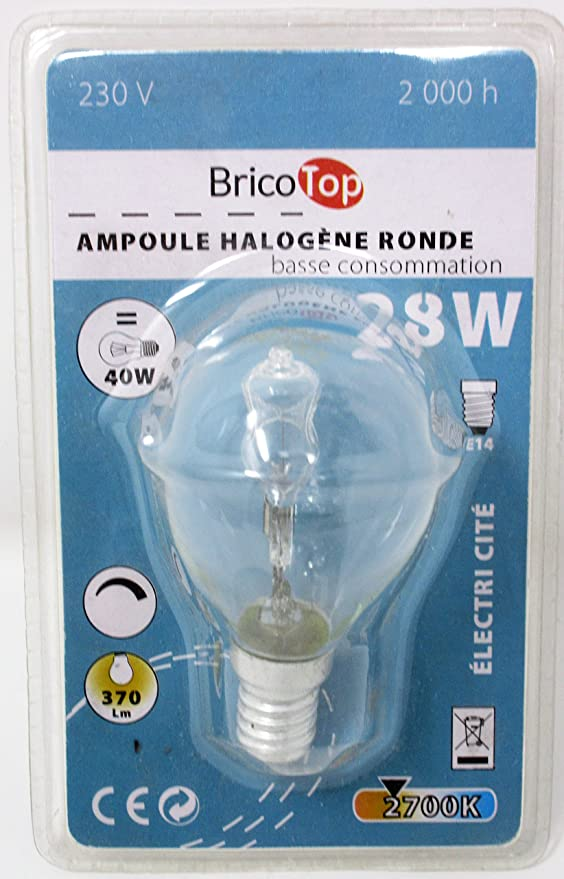 Pack de 4 bombillas halógenas de 28 W P45 SES con rosca Edison pequeña E14 ECO regulable en forma de bola de golf/mini globo regulable 28 W equivalente a 40 ...