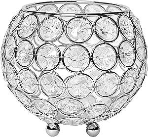 Elegant Designs Elipse Crystal Flower, Candle Holder, Wedding Centerpiece Decorative Candleholder/Vase, 4 Inch, Chrome