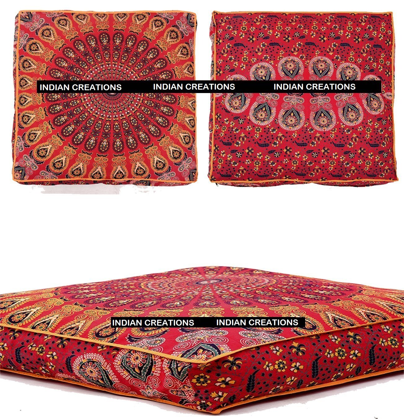 INDIAN CREATIONS - Indian Mandala Floor Pillow Square Ottoman Pouf Daybed Oversized Cushion Cover Cotton Seating Ottoman Poufs Dog / Pets Bed (Red)