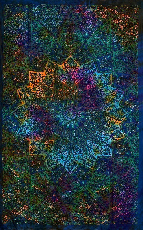 Tie Dye Star Twin Tapestry Elephant Mandala Tapestries Bohemian Wall Hanging Boho Beach Throw Table Cover