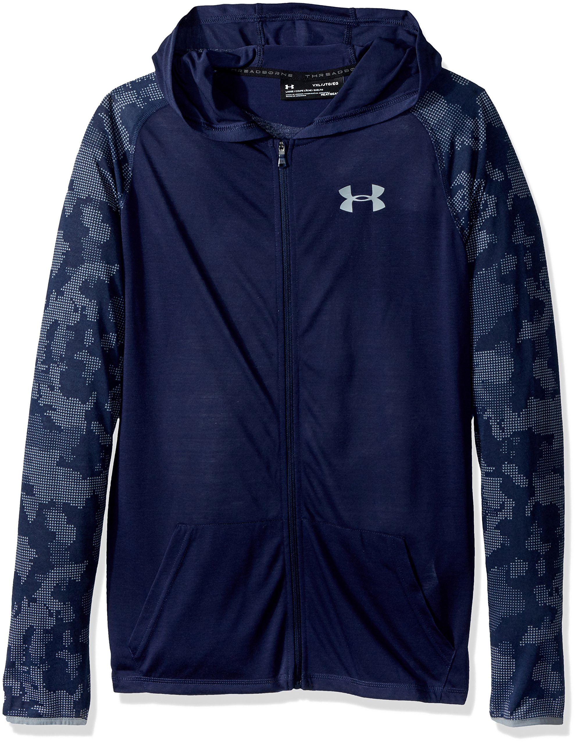 Under Armour Boys Threadborne Full Zip Hoodie,Midnight Navy /Steel, Youth Small