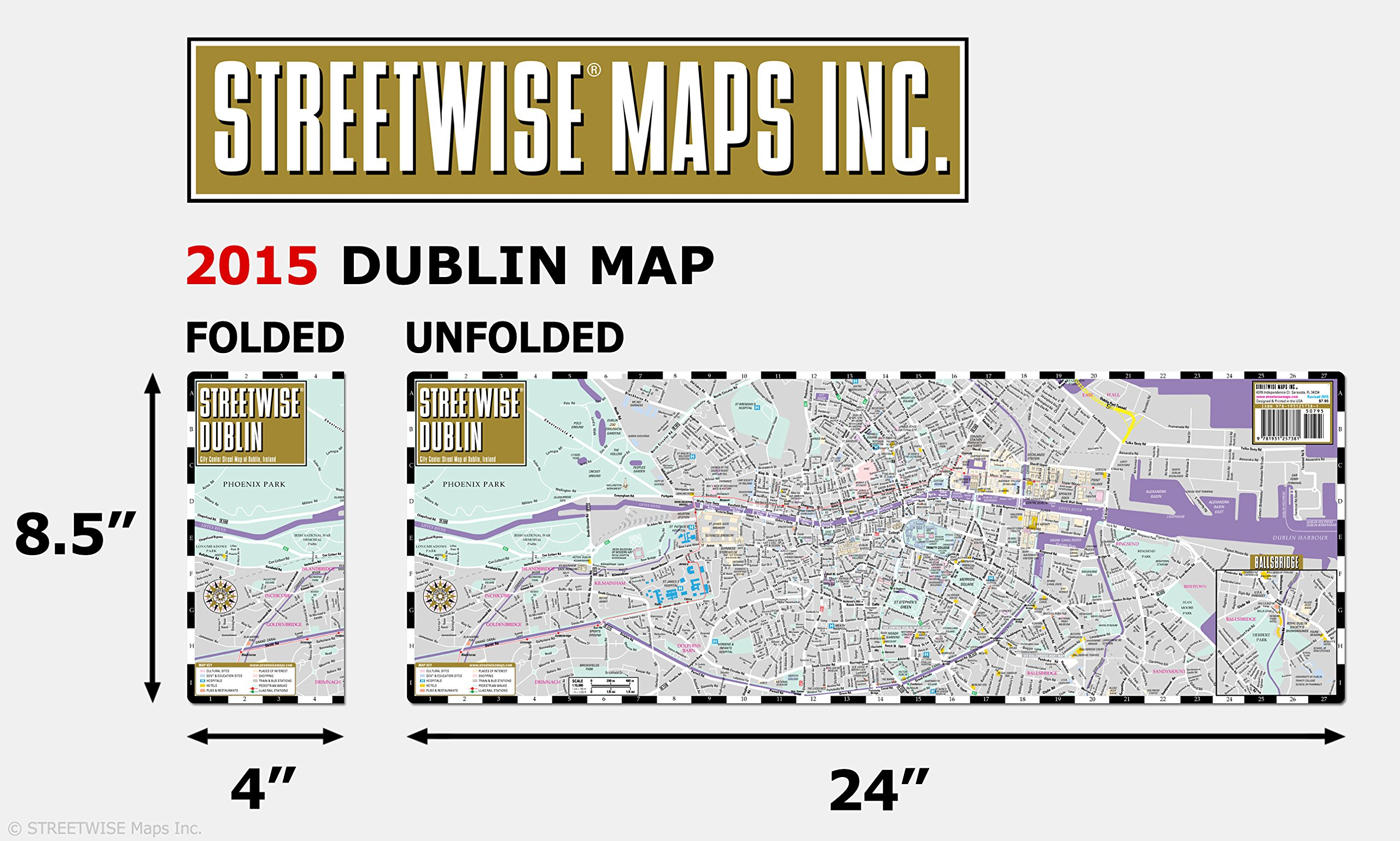 Streetwise Dublin Map Laminated City Center Street Map of Dublin