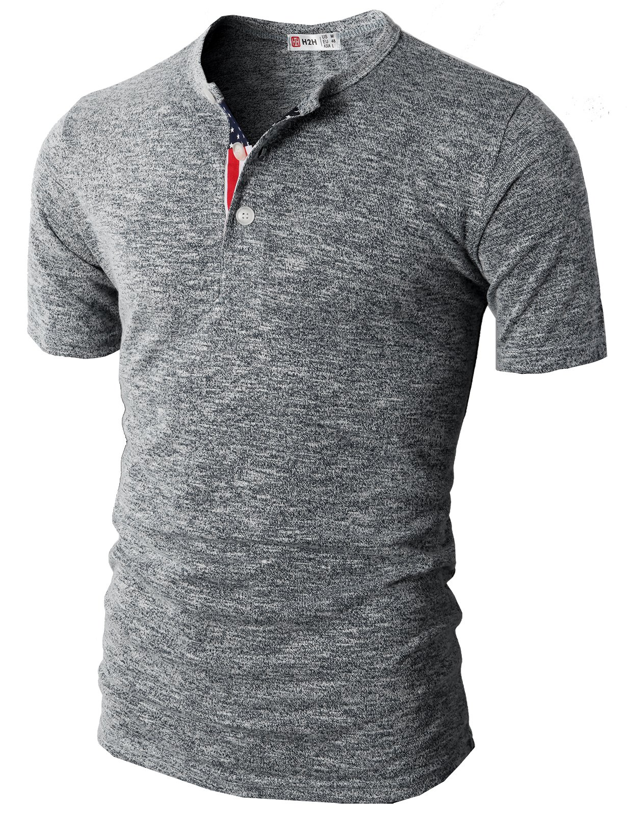 H2H Mens Fashion Flag Henley Short Sleeve Summer T-Shirt Gray US M/Asia L (CMTTS0172)