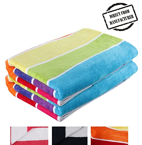 Extra Large Beach Towels.Beach Towel 100 Cotton Extra Large Set Cabana Stripe Pack Of 2 Multicolour By Avira Home