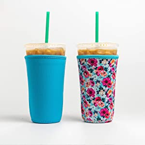 Reusable Insulated Neoprene Iced Coffee Beverage Sleeves | Cold Drink Cup Holder for Starbucks Coffee, McDonalds, Dunkin Donuts, Tim Hortons and More | (Blue & Floral, 2 PK Large 32oz)