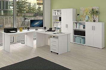 Arbeitszimmer Möbel komplettes arbeitszimmer büro möbel set in weiss amazon de küche