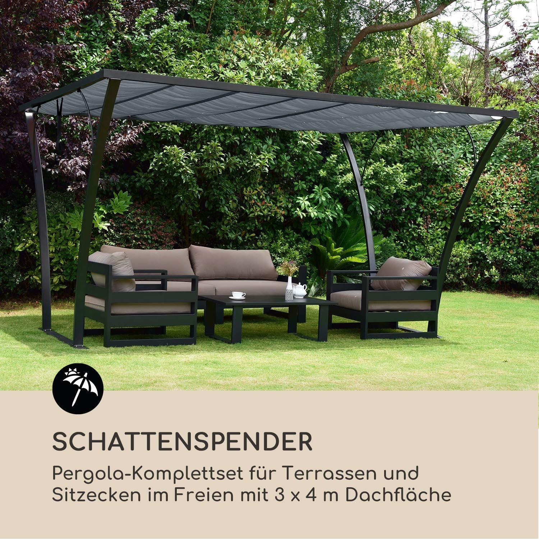 Blumfeldt Palazzo - Pérgola para terraza (placa base para fijación al suelo), Cenador negro y gris.: Amazon.es: Jardín