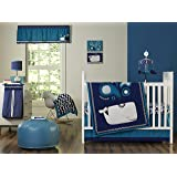 Happy Chic Baby Jonathan Adler Party Whale 4Piece Crib Bedding Set, Blue/White