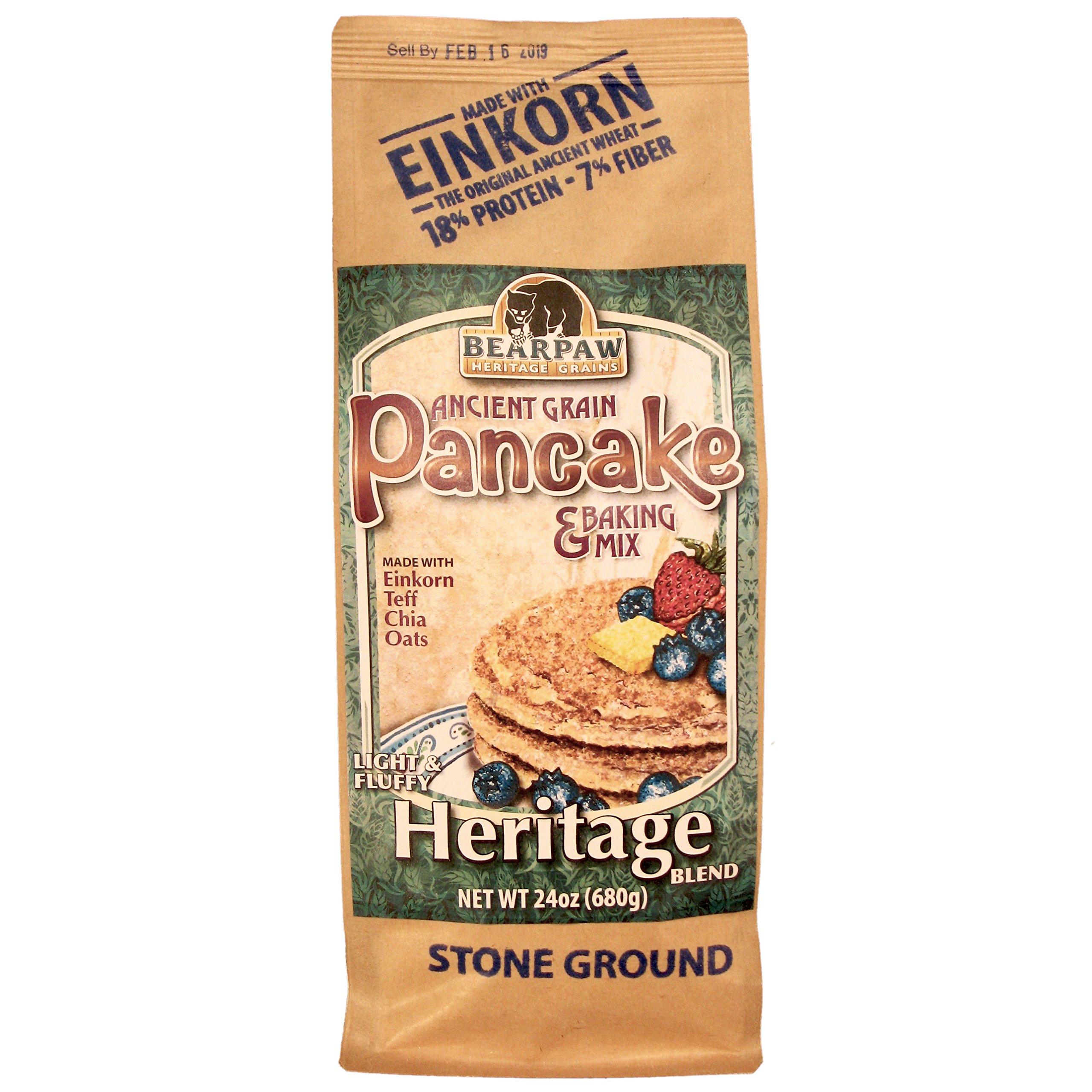Bearpaw Ancient Grain Pancake Mix, Heritage Blend (24 ounce), Einkorn, Teff, Chia, Oats, 16% protein, BearpawGrains 861262000302