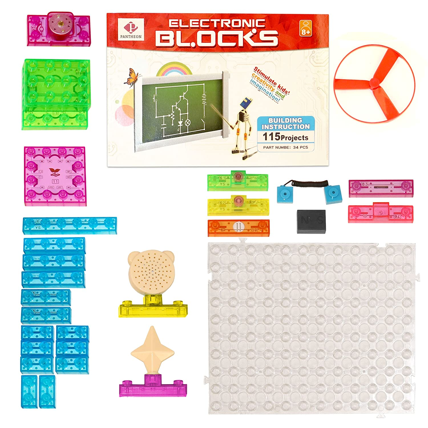 Pantheon Circuit Kit With Lighted Bricks 44pcs 120 Snap Circuits Snaptricity Build 75 Projects Different In 1 Educational Toy Toys Games