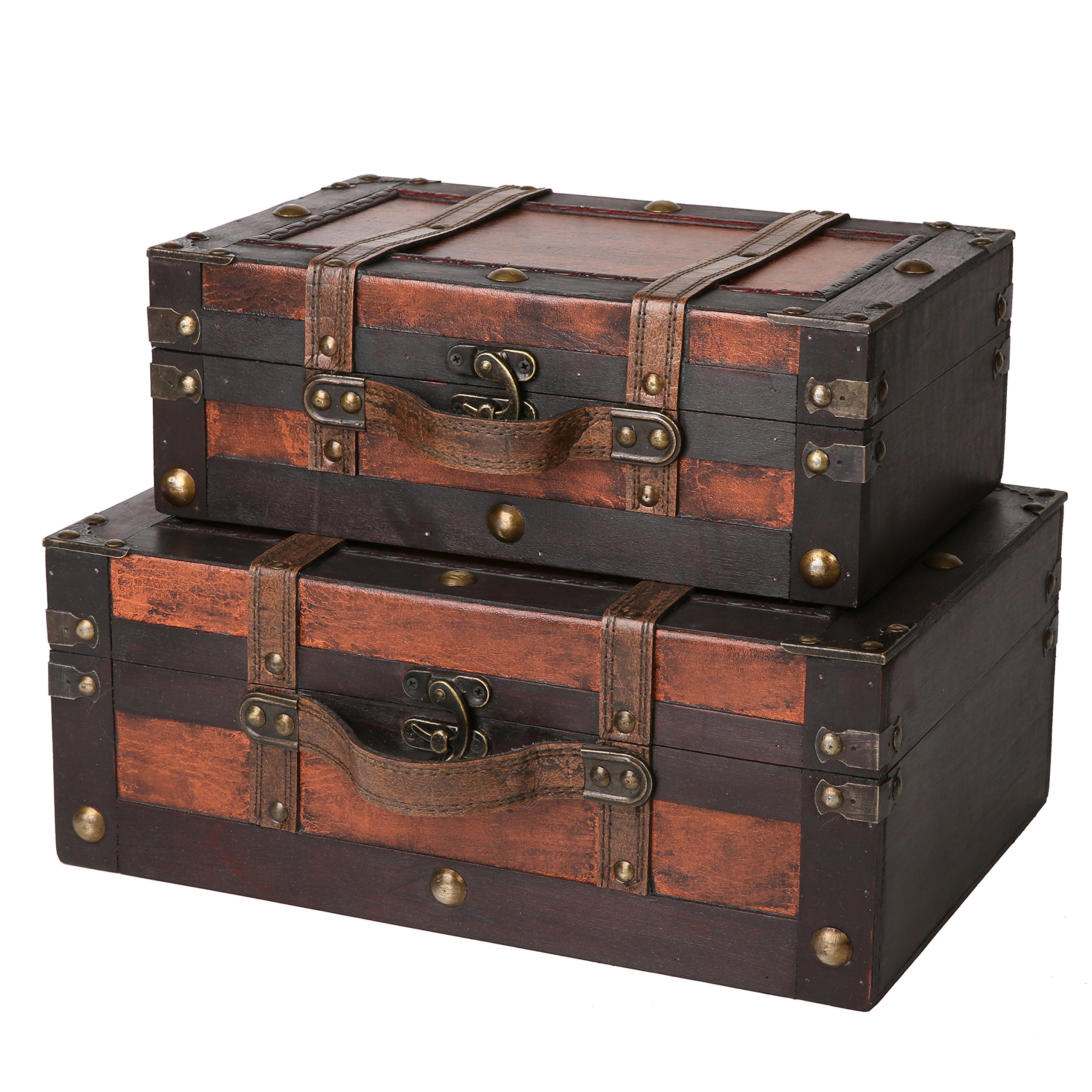SLPR Crawford Wooden Trunk with Straps (Set of 2, Wine Color) | Old-Fashioned Antique Vintage Style Nesting Trunks for Shelf Home Decor Birthday Parties Wedding Decoration Displays Crafts by SLPR